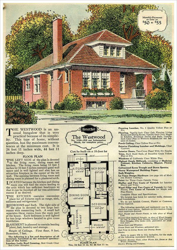 Sears Kit House 1929 Westwood Brick Veneer Bungalow Bungalow Floor Plans Vintage House Plans Kit Homes