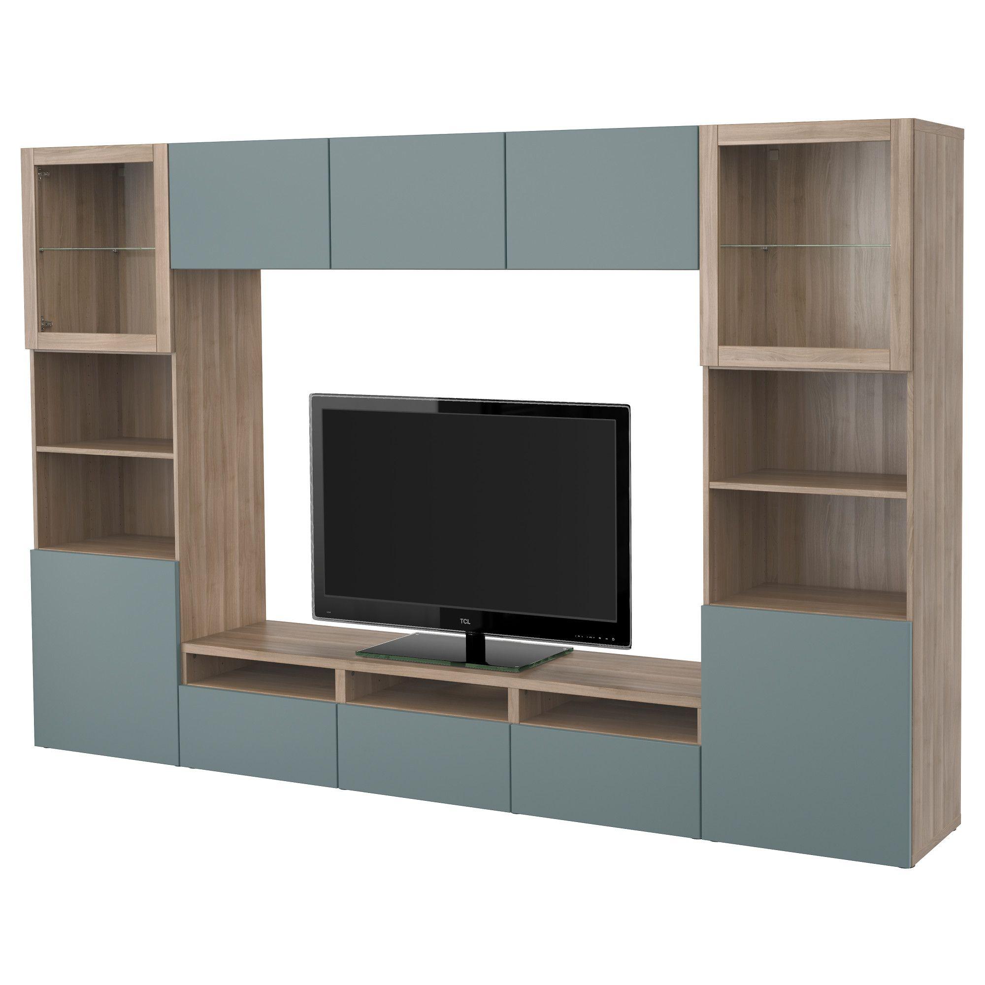 Ikea Best Tv Storage Combinationglass Doors Walnut Effect Light