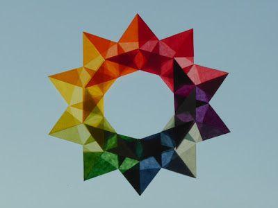 Regenbogenstern/ Sternenkranz aus Transparentpapier; Bastelanleitung