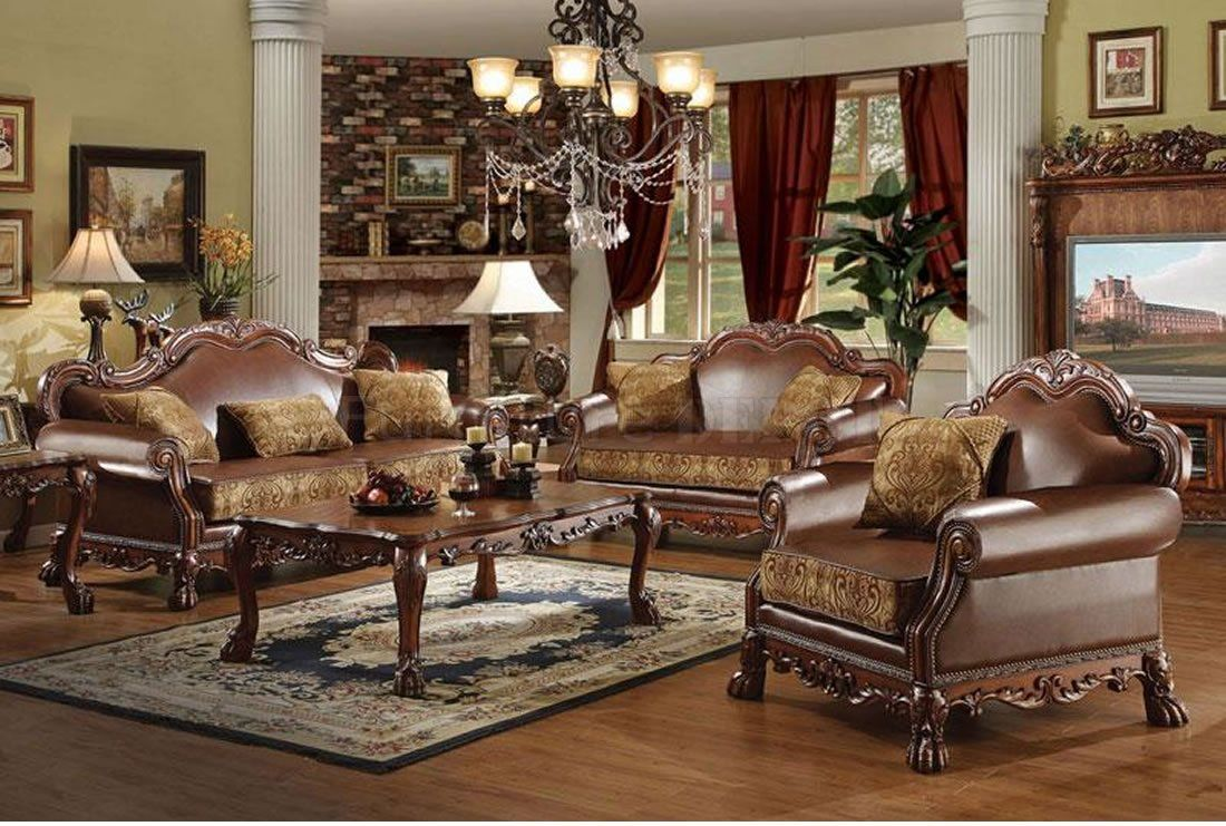 2 Pc Dresden Collection Two Tone Chenille Fabric And Leather Like Vinyl Upholstered Sofa Love Seat With Wood Trim Accents