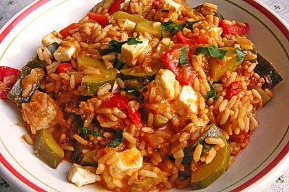 Mediterrane Zucchini - Reis - Pfanne mit Feta #vegetarischerezepte