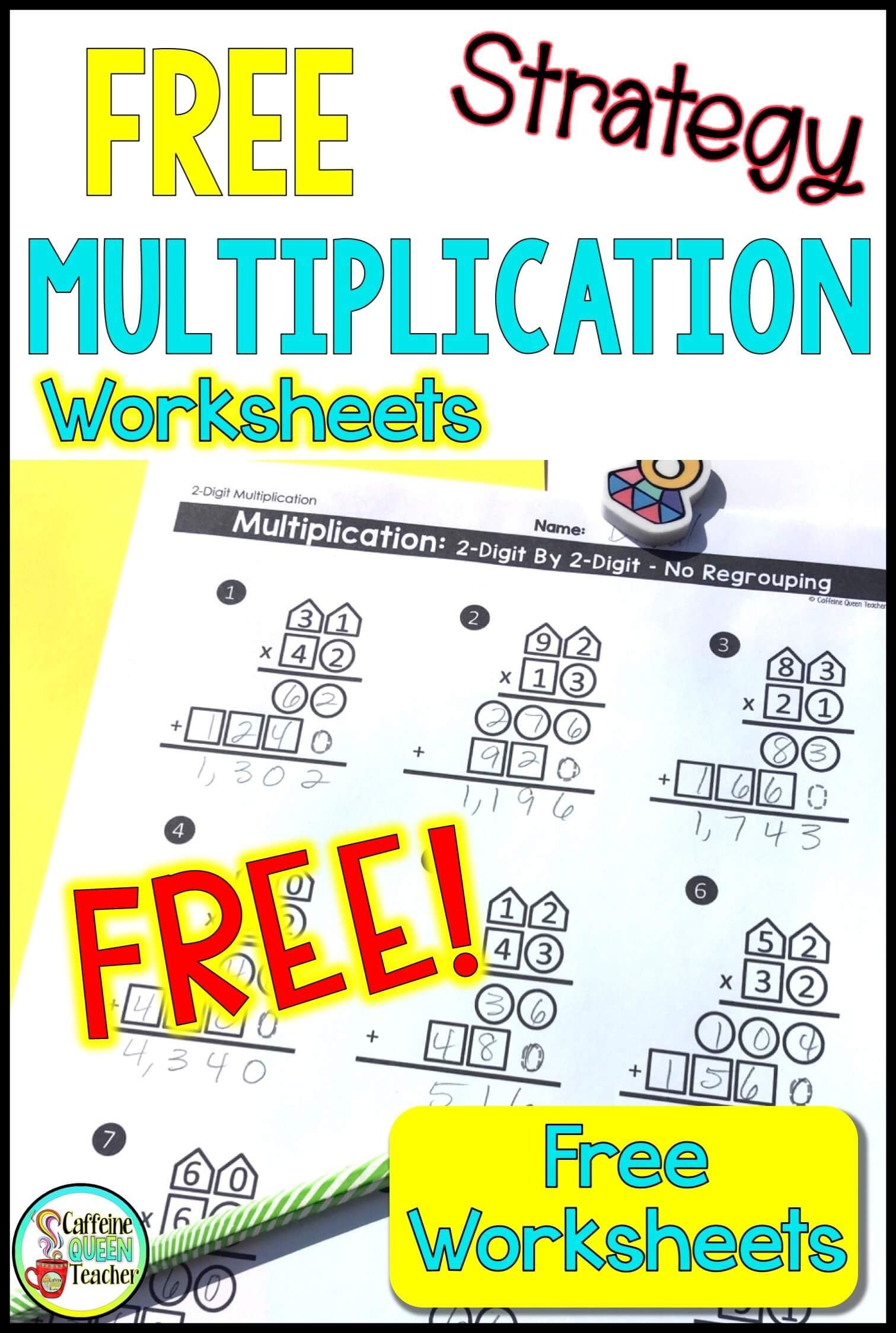 2 Digit Multiplication Worksheets Differentiated Free