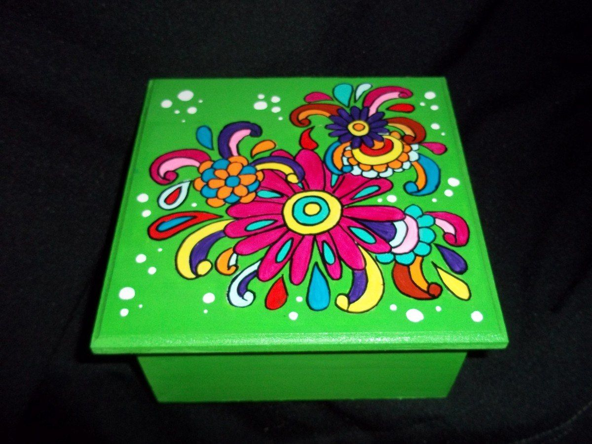 Cajas de madera pintadas a mano 159 00 en mercadolibre - Cajas de madera pintadas a mano ...