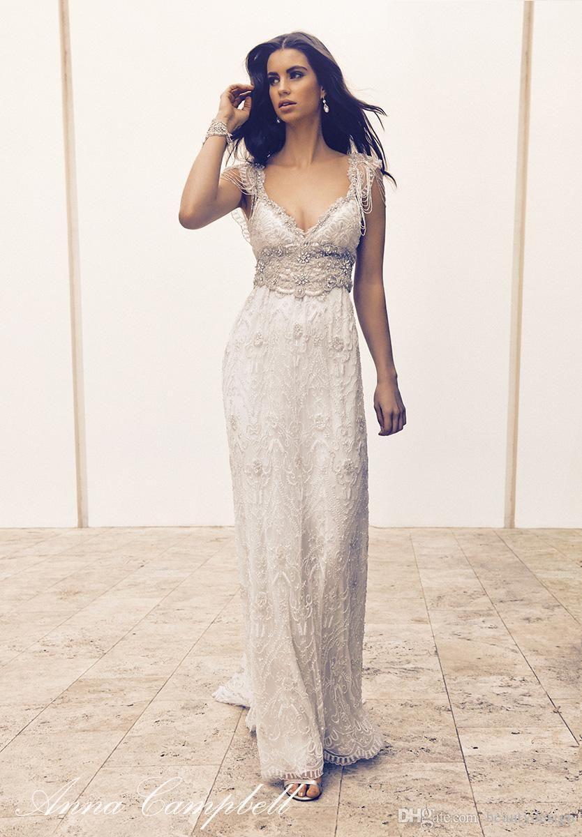Anna Campbell 11 Lace Boho Summer Beach Wedding Dresses Cap