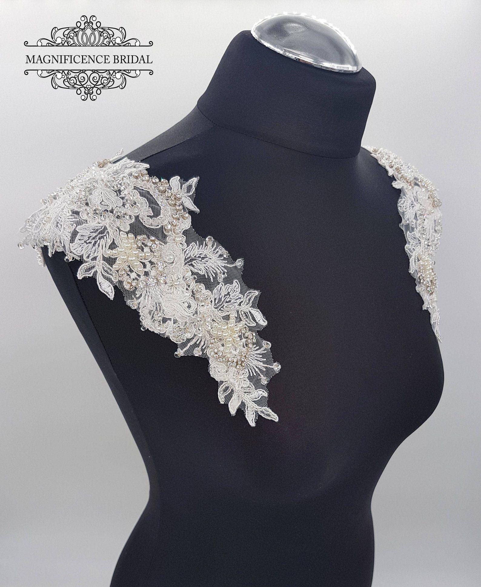 Lace Epaulettes, Bridal Straps, Beaded Epaulettes