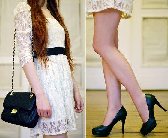 Beige Lace Dress With Black Belt, Embis Leather Heels, Arafeel.Com Black Bag