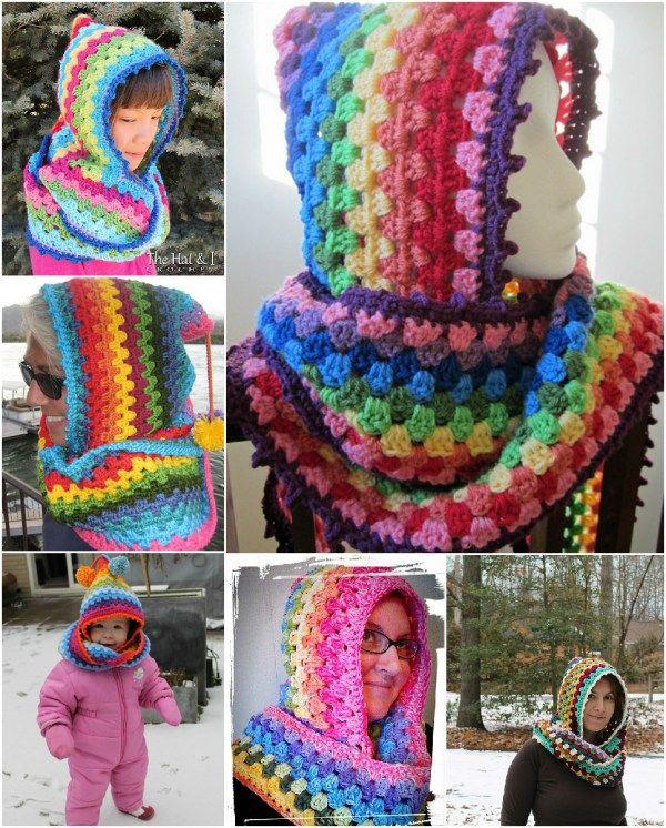Crochet Rainbow Hood Cowl [Free Pattern] | Gorros, Creatividad y Tejido