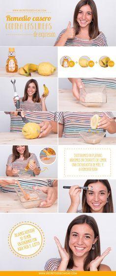 Remedio casero con limón + miel + plátano para eliminar las arrugas de expresión.