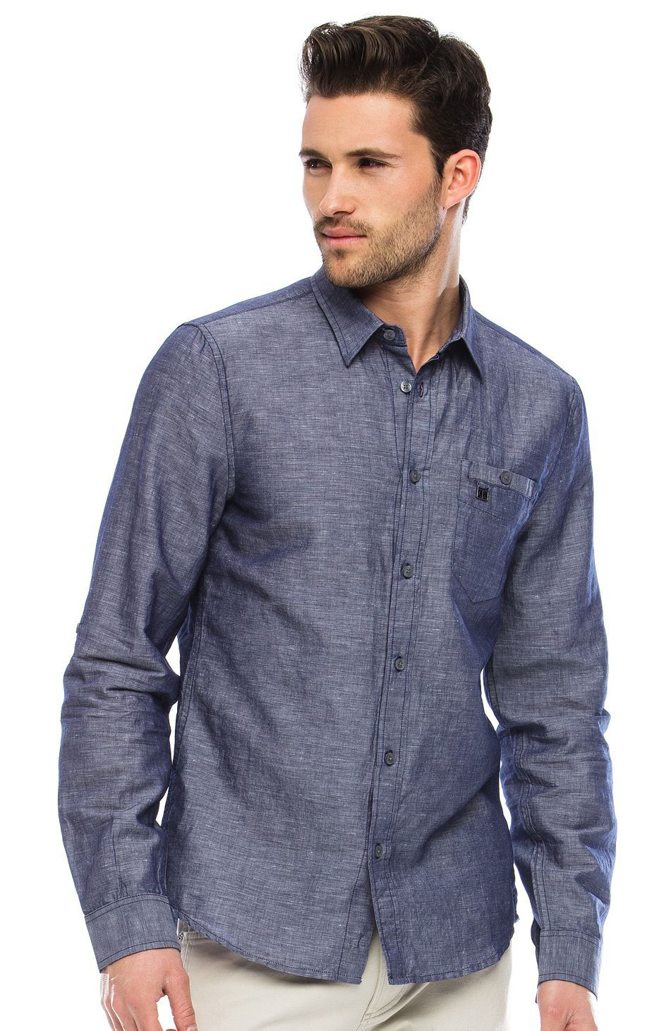c1323b406 Roll Sleeve Chambray Shirt - Ciao Sale Tops - Mens - Armani Exchange ...