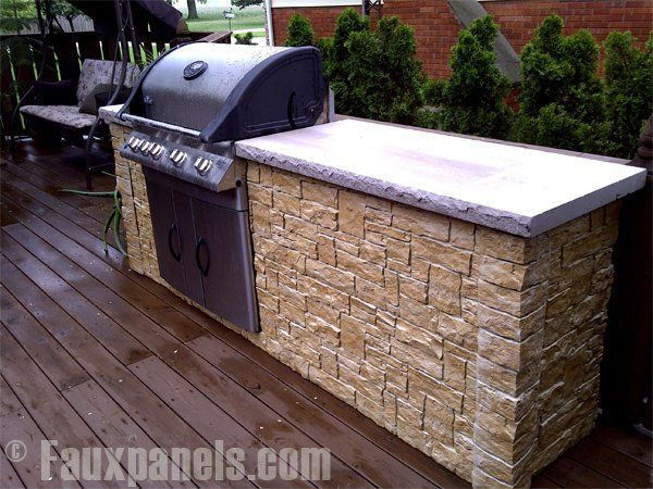 Faux Stone Panels Get The Look Of Real Stone For Less Outdoor Kitchen Plans Outdoor Grill Station Brick Bbq