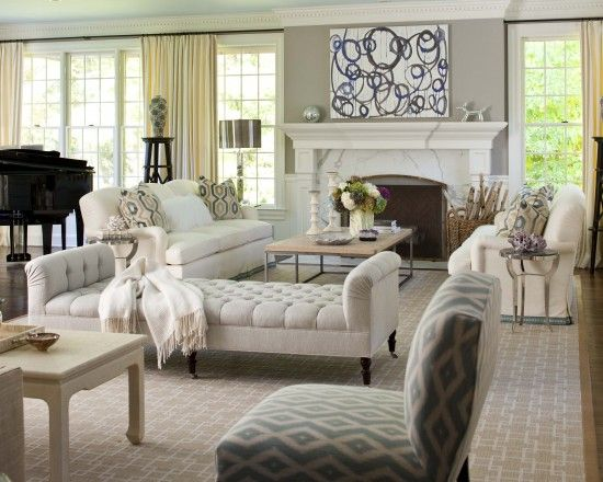 """""""Using a geometric rug in a Taupe w white pattern looks rich with white furniture. It lightens and softens effect of dark wood floors. Wall color good White and grey marble/granite would look good as countertop in kitchen""""  """"backless bench between kitchen and living room"""" ---look at these drapes---"""