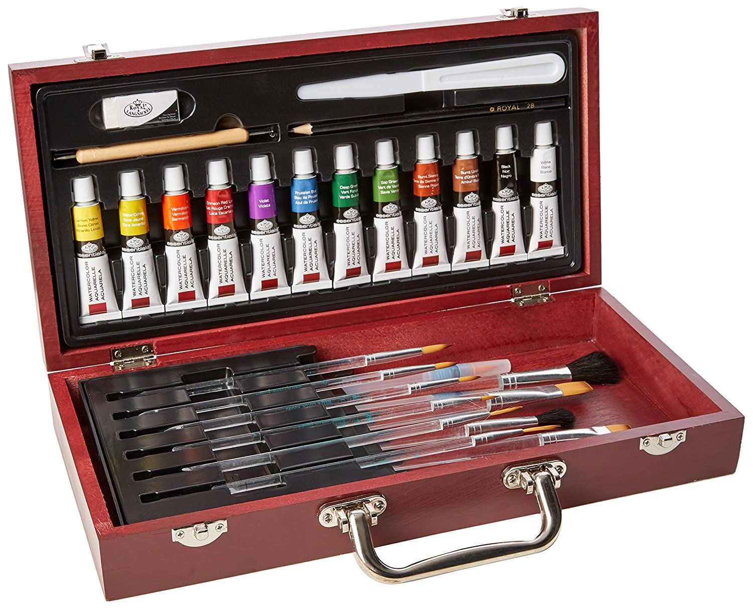 Here Is Quite The Adorable Set Of Watercolor Paints In A Wooden