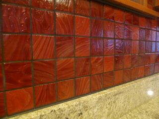 kitchen backsplash red orange Add Some Color with a Mosaic Glass