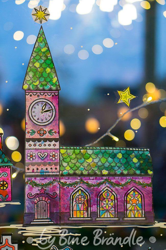 die große winterstadt  fensterbilder weihnachten basteln