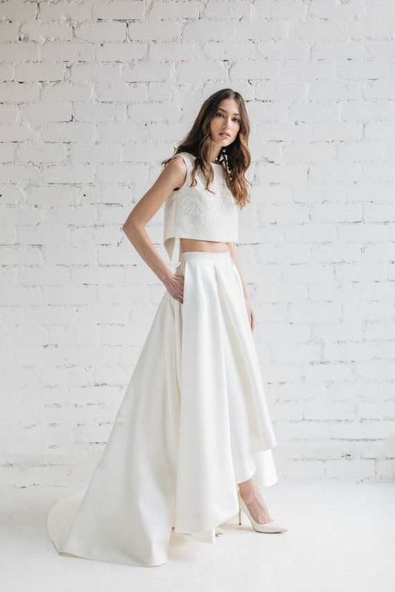 Deux pièces robe de mariée mariée sépare Crop Top par JurgitaBridal