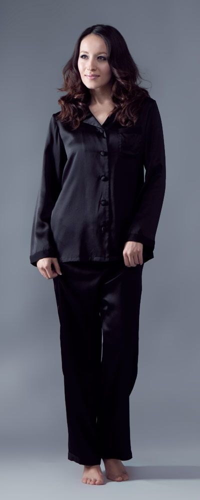 Black Silk Pajamas: / Silk Nightwear / Women Nightwear