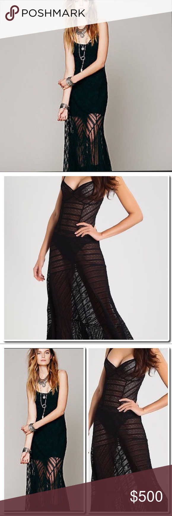"""Free People Lace Maxi Slip Dress - Scoop neck  - Tank top straps - Scoop back - Sheer construction - Approx. 56"""" length (size S) - Imported Fiber Content 90% nylon, 10% spandex Care Machine wash Additional Info. - Slip not included . Free People Dresses Maxi"""