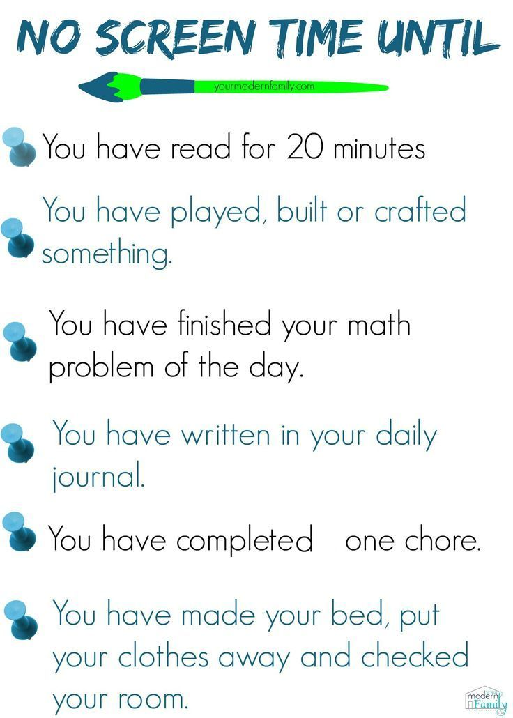 No Screen Time checklist Kids and Parenting Pinterest Parents