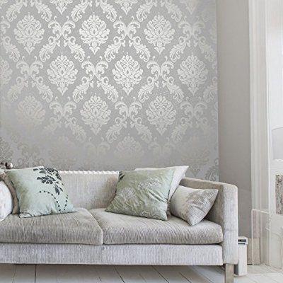 Henderson Interiors Chelsea Glitter Damask Wallpaper Soft Grey Silver H980504 Grey Wallpaper Bedroom Feature Wall Living Room Wallpaper Living Room