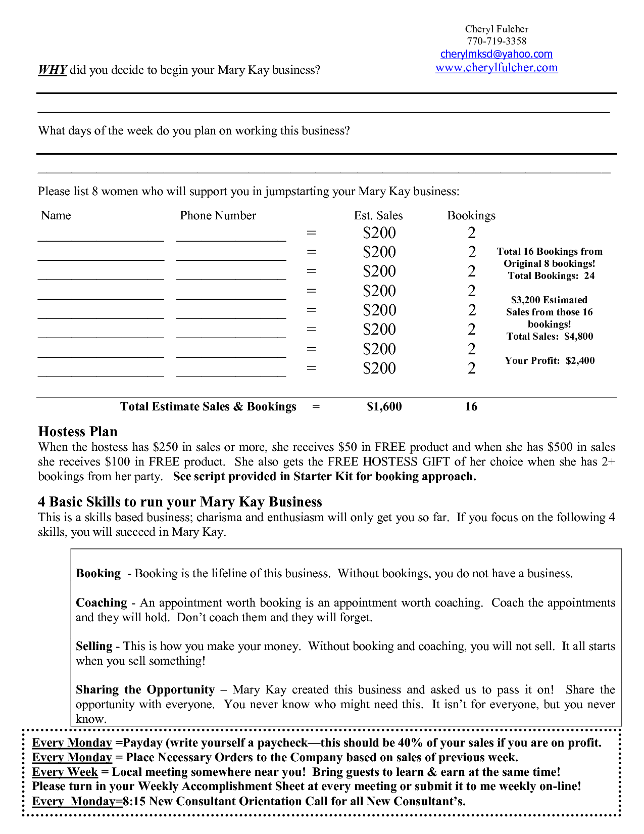 mary kay business plan | Mary Kay Weekly Plan Sheet | MK Business Plan | Pinterest | Mary kay