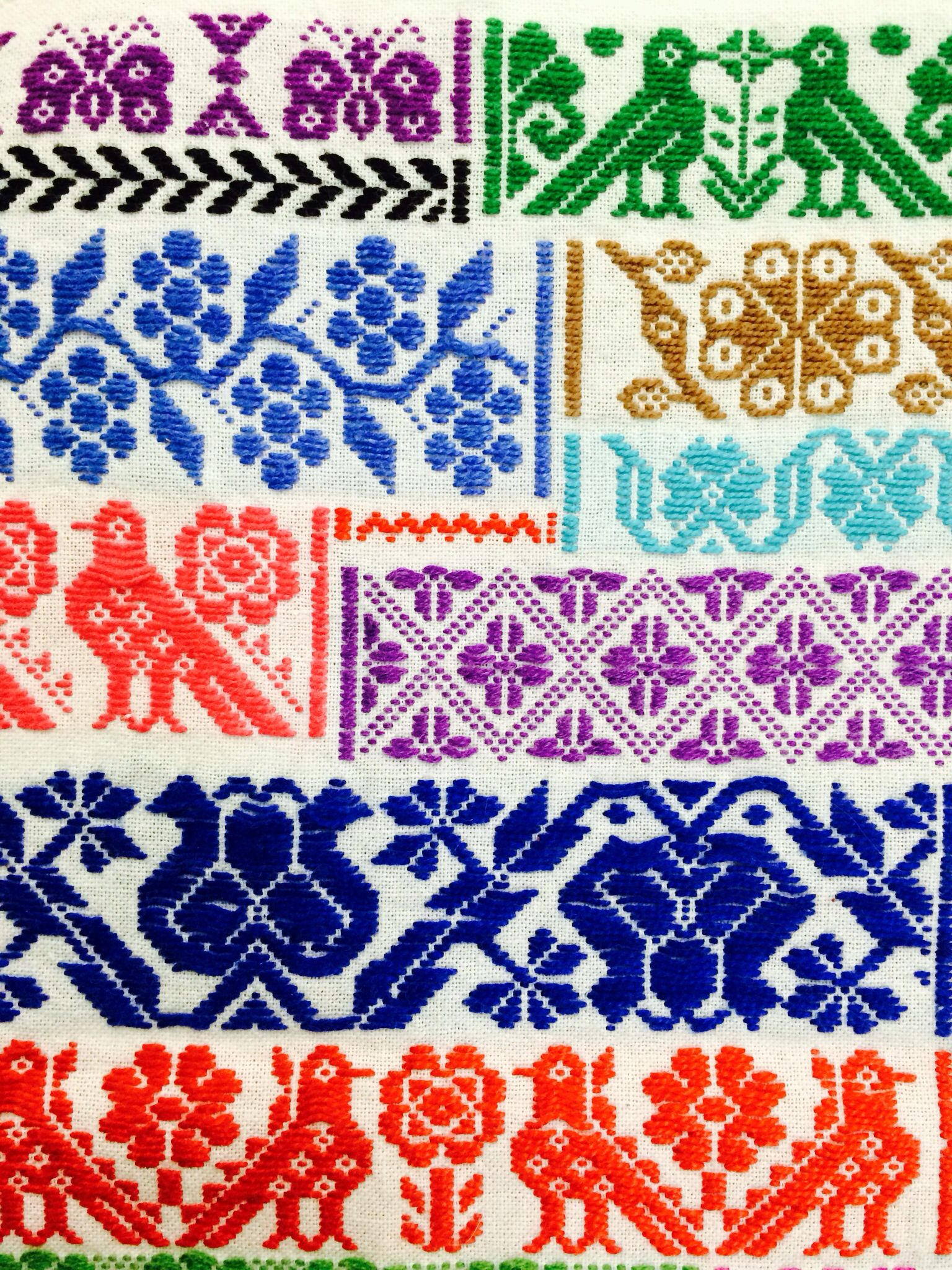 Textil mexicano | Mantas | Cross stitch embroidery ...
