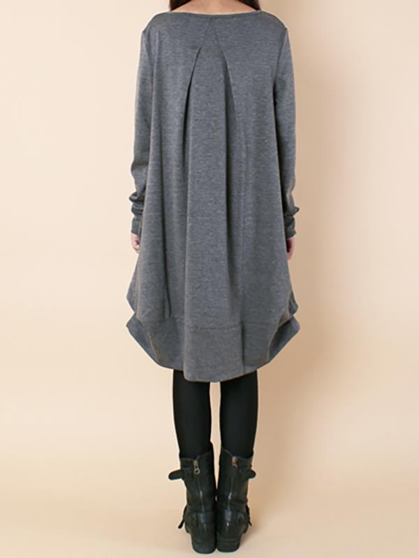 Plus size Loose Ruffled Round-neck Short Dress