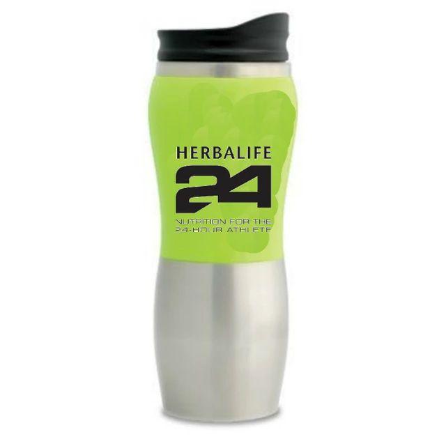 Herbalife 24 Green 15oz Insulated COFFEE TRAVEL MUG Stainless Steel ...