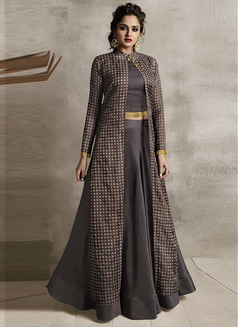 Brown Satin Embroidered Party Wear Gown Indian Fashion Dresses Kurti Designs Party Wear Party Wear Indian Dresses