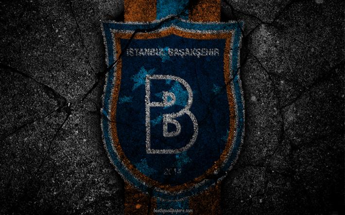 Lataa kuva Başakşehir, logo, art, Super Lig, jalkapallo, football club, grunge, Başakşehir FC