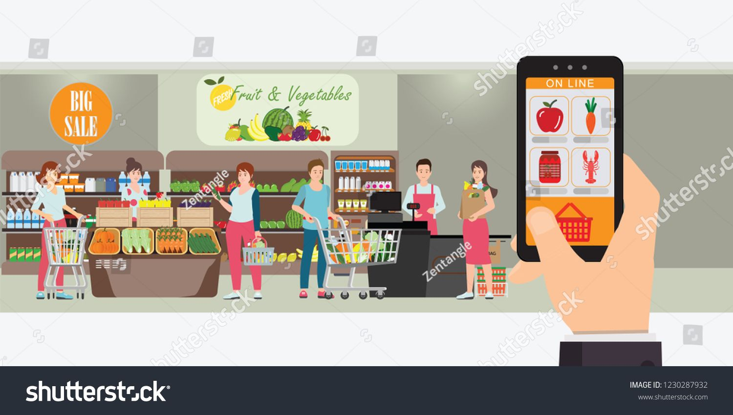 Hand Holding Smartphone With Shopping App Interior Store Inside