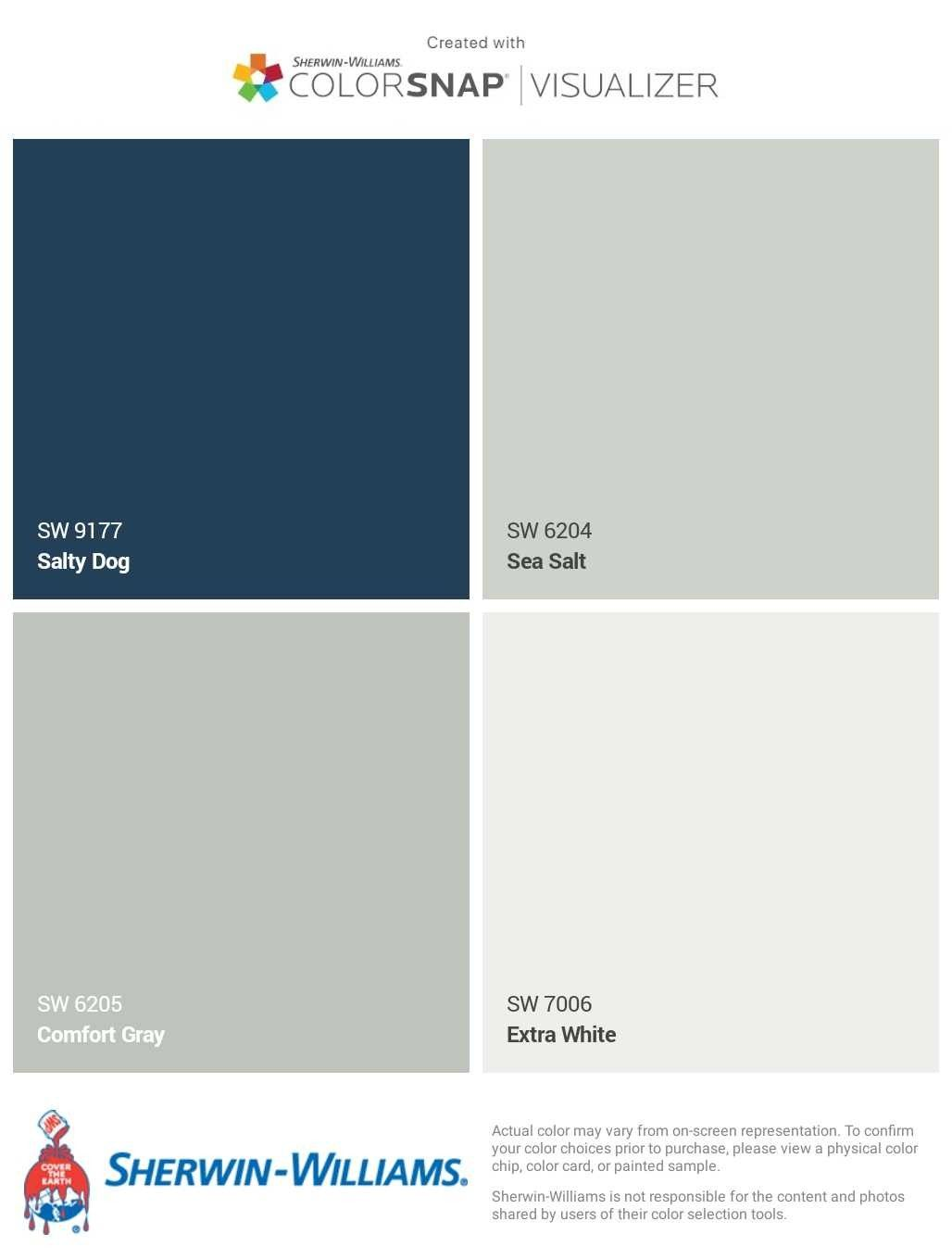 Top Color Palette For Exterior Paint Salty Blue For Front Door Comfort Gray For Porch Sea