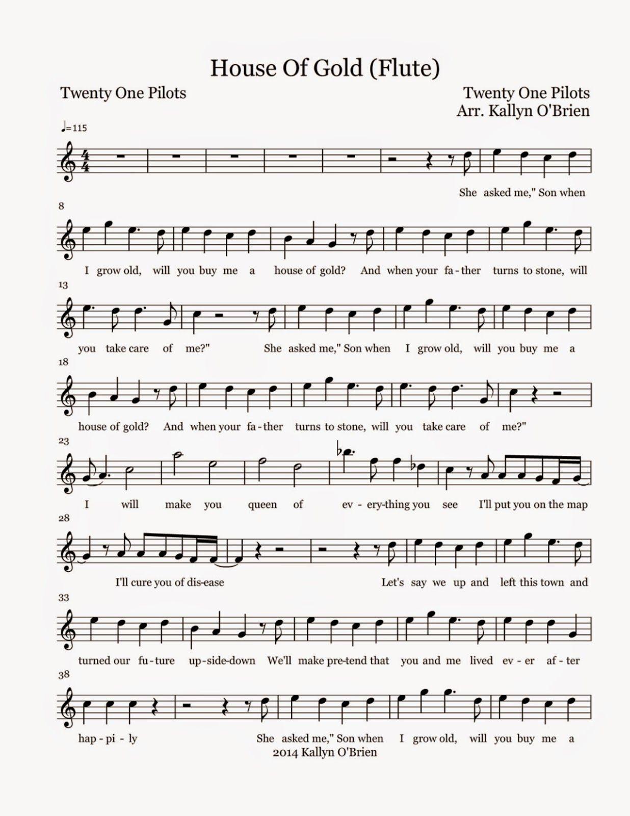 Flute Sheet Music House Of Gold   Sheet Music   Flute sheet music ...
