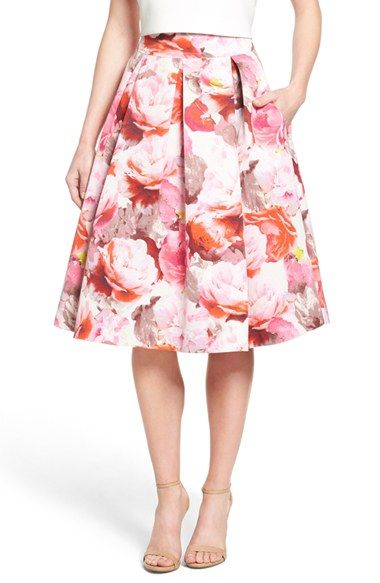 6a34704c7 Free shipping and returns on Eliza J Floral Print Pleated Midi Skirt at  Nordstrom.com. Large peonies blossom all around this refined box-pleated  skirt cut ...