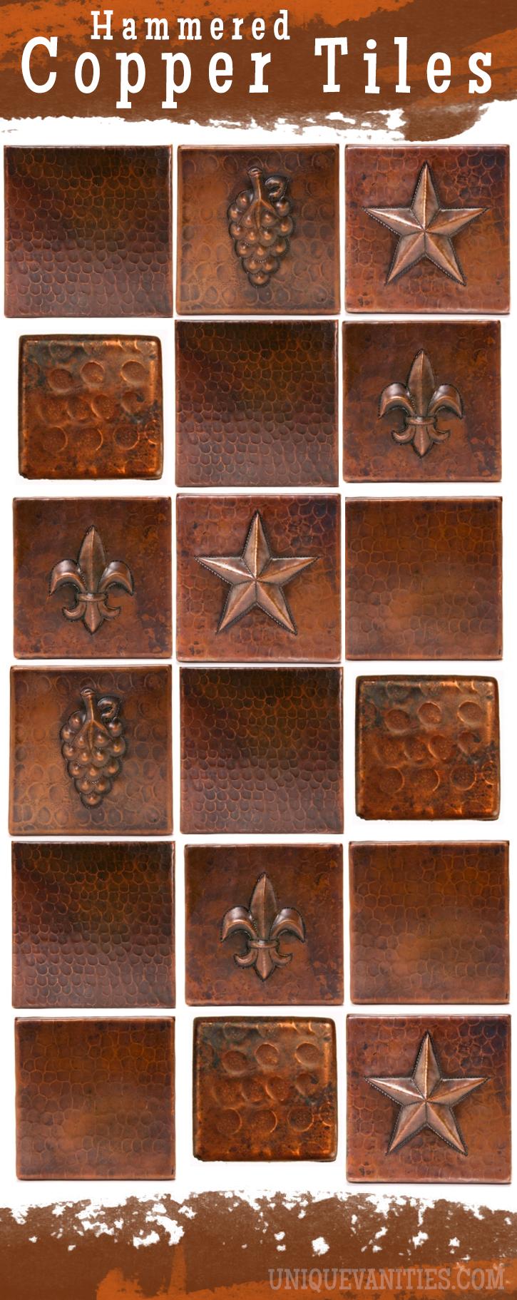 - Hammered Copper Tiles Copper Countertops, Unique Backsplash