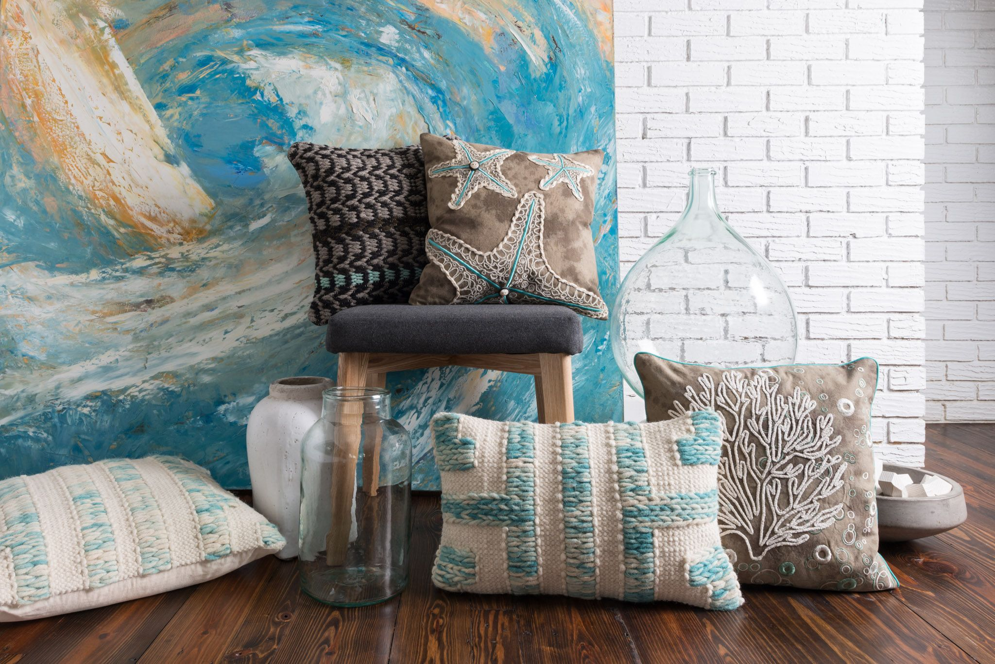 Loving This Coastal Vibe With These Awesome Detailed Pillows By Loloi.  Available @ Top Drawer