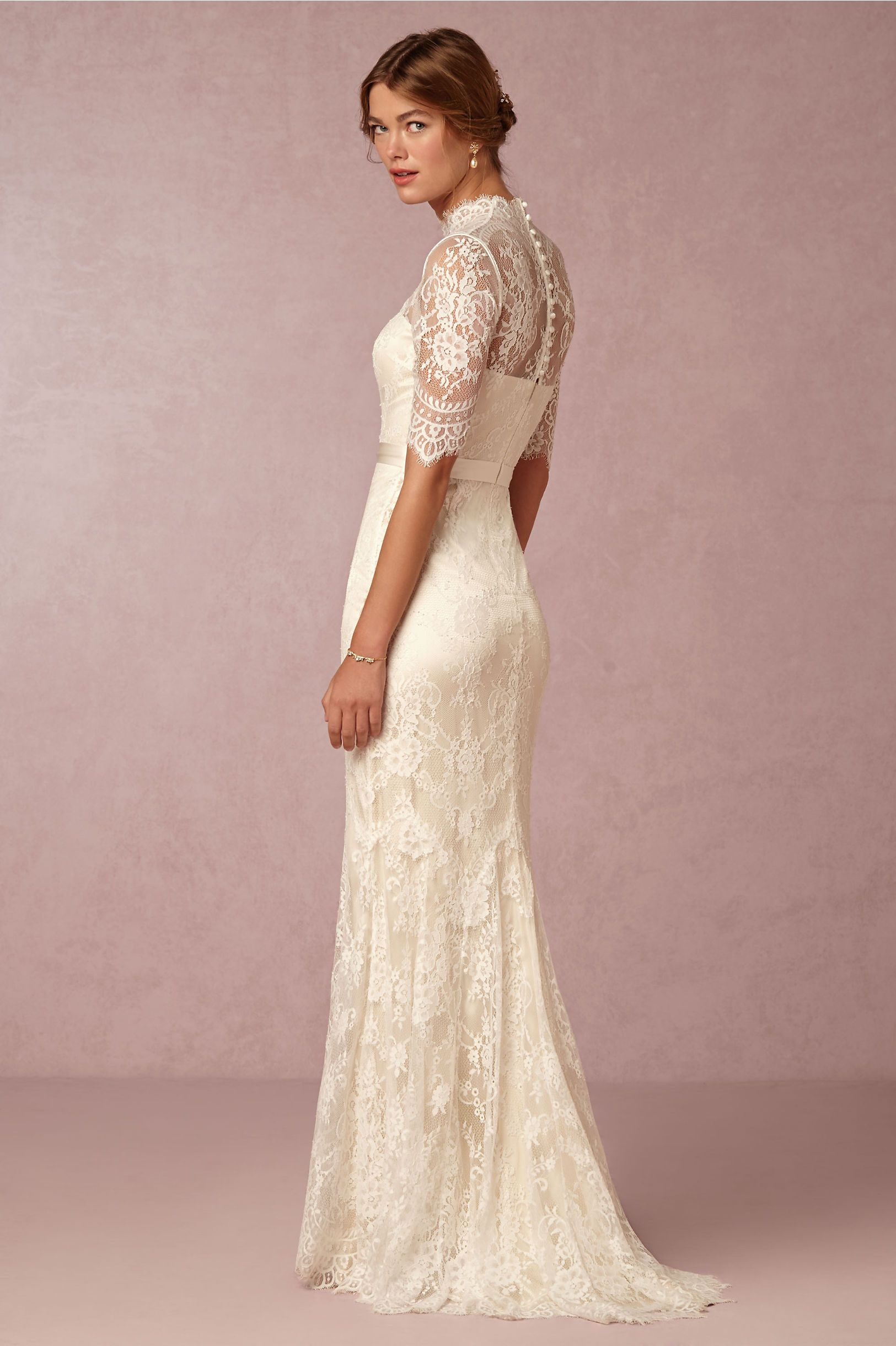 Bridgette STUNNING Cream Lace Column Sheath Wedding Gown Showcasing Half Illusion