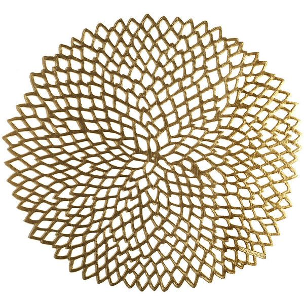 Chilewich Pressed Vinyl Dahlia Round Placemat Brass 18 Liked On Polyvore Featuring Home Kitchen Dining Table Linens Gold Vinyl Lace Placemats Roun