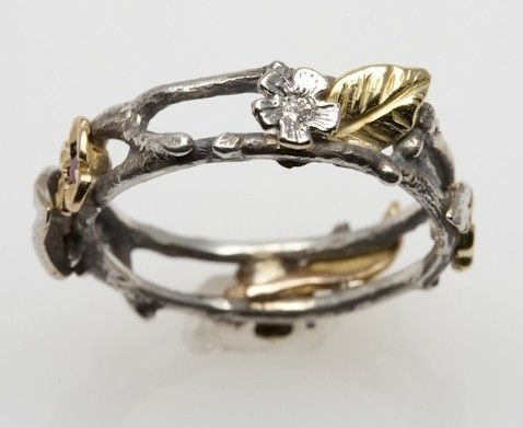 Floral Wreath Ring in silver and 18K gold Fairy ring Fairy and Ring