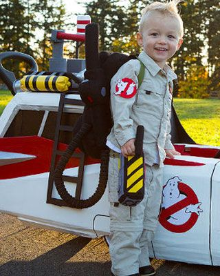 Best toddler/preschool Ghostbusters costume ever!  sc 1 st  Pinterest & Great GHOSTBUSTERS Kid Costume and Ecto-1 Push Cart | Pinterest ...