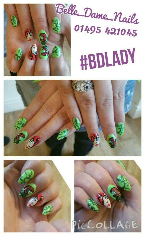 Hand Painted Poison Ivy Nail Art By Tan Adams At Belle Dame Nails