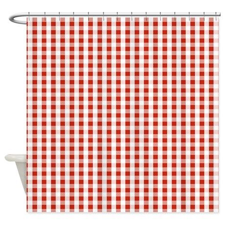 Small Red Gingham Shower Curtain | Red gingham and Gingham