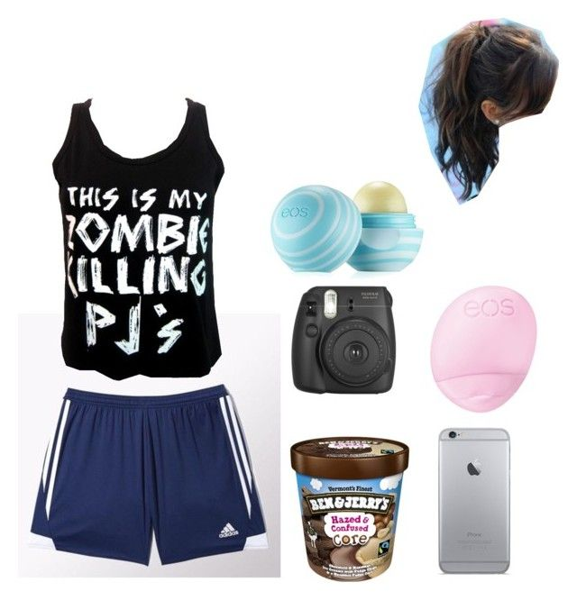 """sleepover"" by evelynrose8 on Polyvore featuring adidas, Goodie Two Sleeves and Eos"
