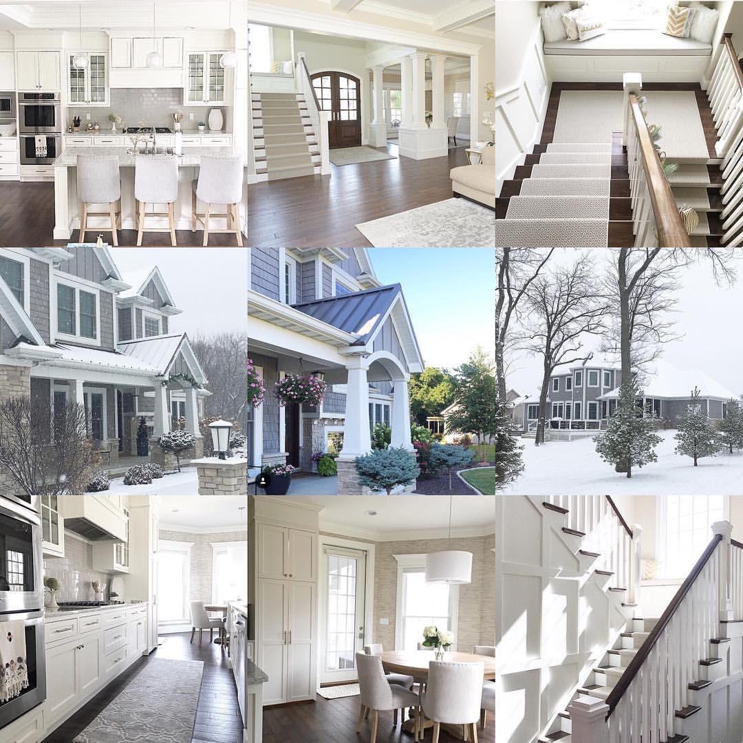 Modern Coastal Home White Kitchen With Shaker Cabinets And Grey Subway Tile Backsplash Grey Shin Custom Floor Plans Craftsman House Plans Shingle Style Homes