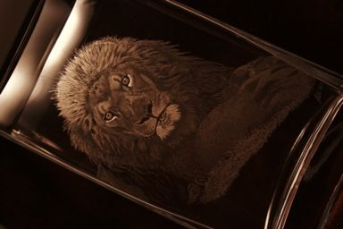 Hand engraved Lion on a LSA glass vase.  Engraved by Justin Lawson, glass engraver of JL Engraving. www.jlengraving.co.uk 30cm tall