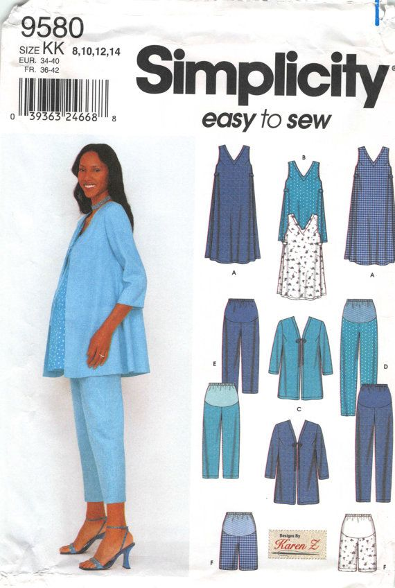 8ff035f35ac85 Size 8 10 12 14 Bust 31.5 32.5 34 36; Simplicity 9580 Easy To Sew; Misses  Maternity Pants Tunic Top Dress Shorts and Jacket Sewing Pattern by ...