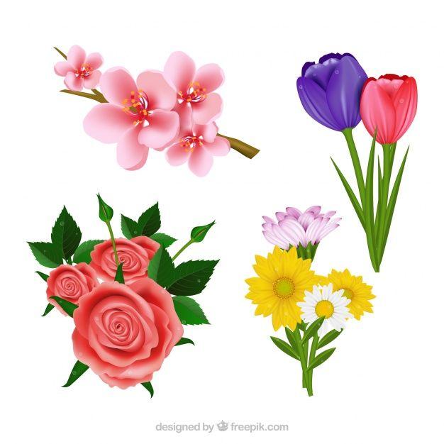 Pobierz Zestaw Piekne Realistyczne Kwiaty Za Darmo Freepik Plants Jewelry