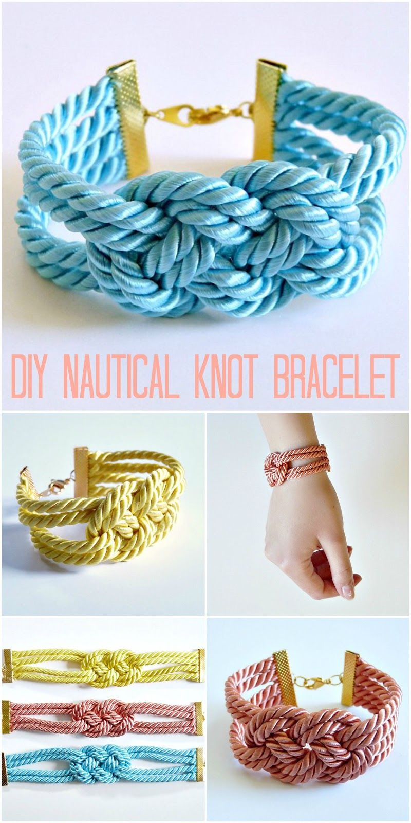 Easy DIY Knotted Cord Bracelet | Cord bracelets, Cable and Satin