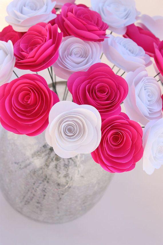 Hot Pink White Paper Flower Bouquet Wedding Home Decor Gift