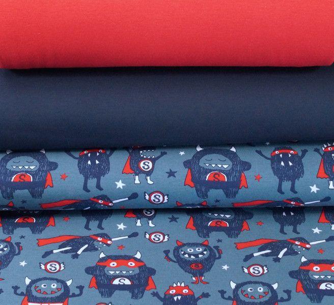 Stoffpakete - 521 Stoffpaket Jersey Monster Blau Rot 1,25m - ein Designerstück…