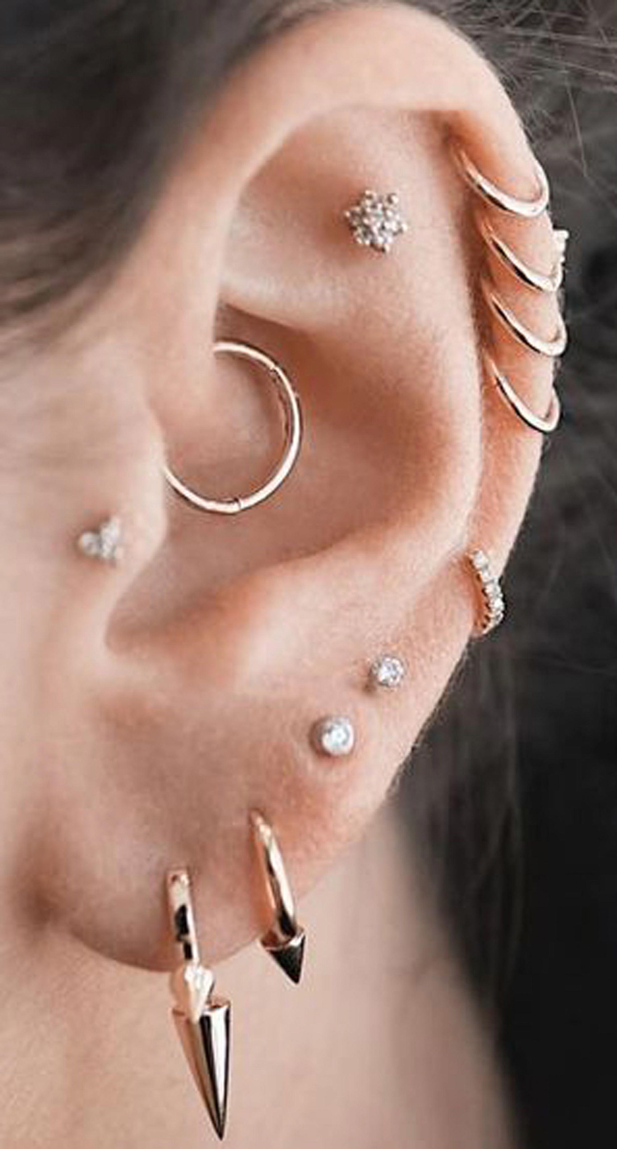 031b927a5 pretty ear piercing ideas multiple combinations cartilage helix daith ring  hoop flower earring set #earringset